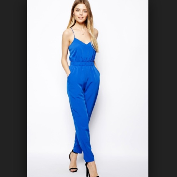 b6482902f43 ASOS cami strap jumpsuit in royal blue